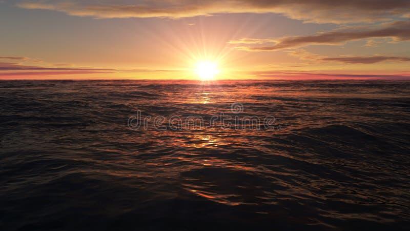 Ηλιοβασίλεμα πέρα από τον ωκεανό, ηλιοβασίλεμα πέρα από τη θάλασσα ελεύθερη απεικόνιση δικαιώματος