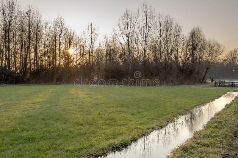 Ηλιοβασίλεμα πέρα από το παγωμένο νερό στους τομείς χωρών το χειμώνα, Λομβαρδία στοκ φωτογραφία με δικαίωμα ελεύθερης χρήσης