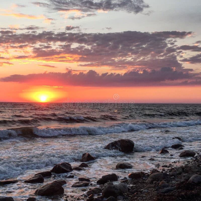 Ηλιοβασίλεμα παραλιών βακαλάων ακρωτηρίων στοκ εικόνα