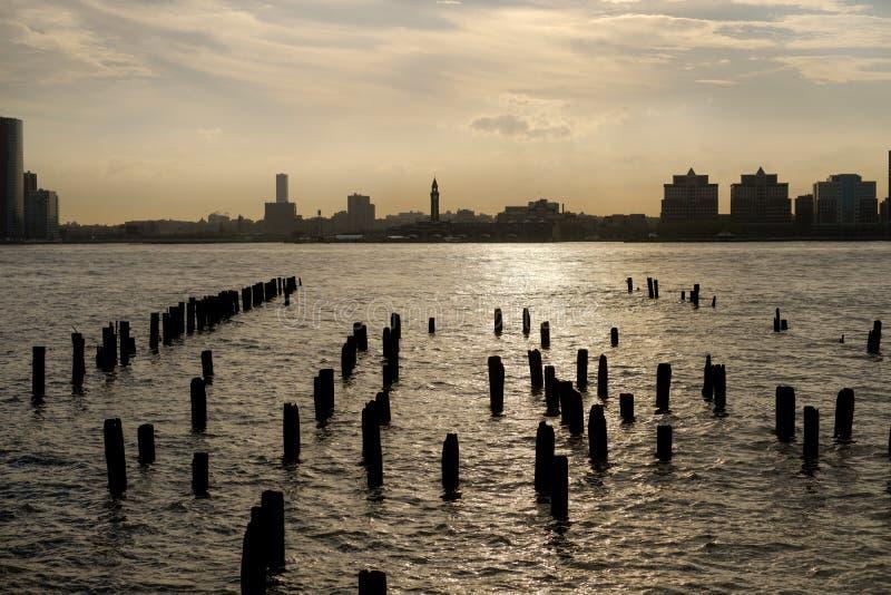 Ηλιοβασίλεμα ποταμών του Hudson στοκ εικόνες