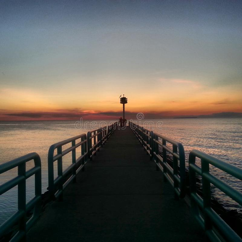 Ηλιοβασίλεμα σε Caseville - ο βασικός Βορράς στοκ φωτογραφία