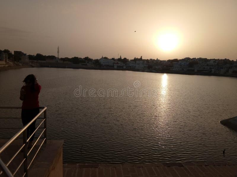 Ηλιοβασίλεμα σε pushkar στοκ εικόνες με δικαίωμα ελεύθερης χρήσης