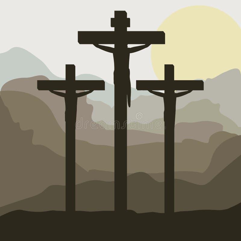 ηλιοβασίλεμα σκηνής με crucifix στο λόφο ελεύθερη απεικόνιση δικαιώματος
