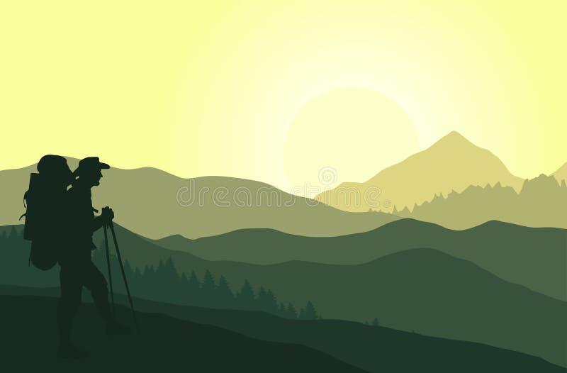 Ηλιοβασίλεμα στα πράσινα βουνά με τη σκιαγραφία του τουρίστα διανυσματική απεικόνιση