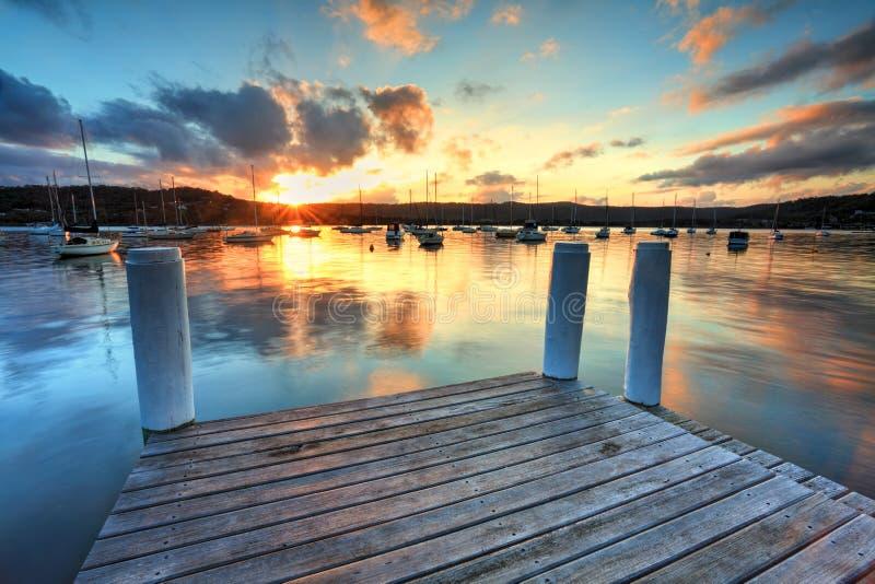 Ηλιοβασίλεμα στην αποβάθρα Frederocl σημείου στοκ φωτογραφία με δικαίωμα ελεύθερης χρήσης