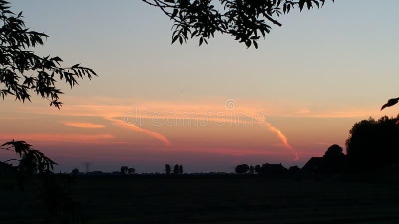Ηλιοβασίλεμα στην Ολλανδία, Φρεισία στοκ φωτογραφία με δικαίωμα ελεύθερης χρήσης