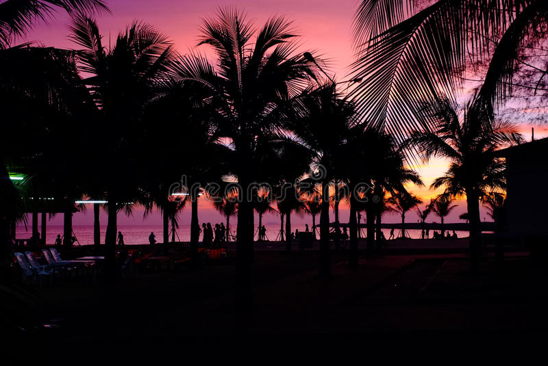 Ηλιοβασίλεμα στην παραλία Ταϊλάνδη Bamampur στοκ εικόνες με δικαίωμα ελεύθερης χρήσης