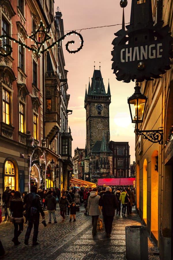 Ηλιοβασίλεμα στην Πράγα στοκ φωτογραφίες με δικαίωμα ελεύθερης χρήσης