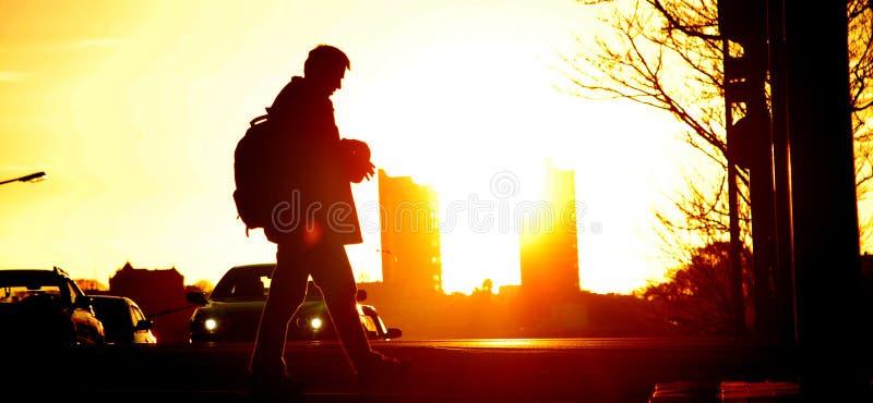 Ηλιοβασίλεμα στην πόλη Aucland στοκ εικόνα