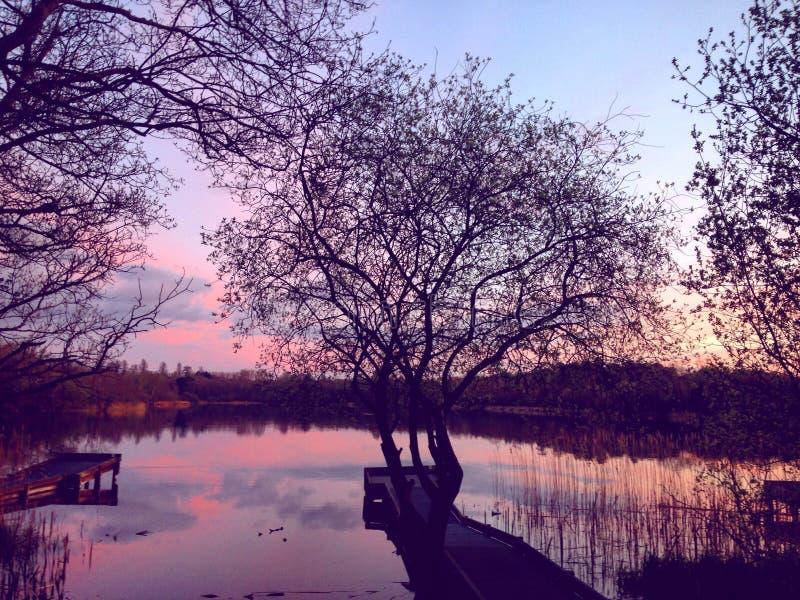Ηλιοβασίλεμα στη λίμνη στοκ φωτογραφία