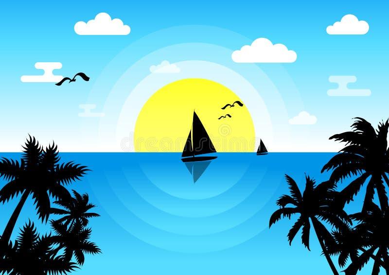 Ηλιοβασίλεμα στη θάλασσα με sailboat και seagulls ελεύθερη απεικόνιση δικαιώματος