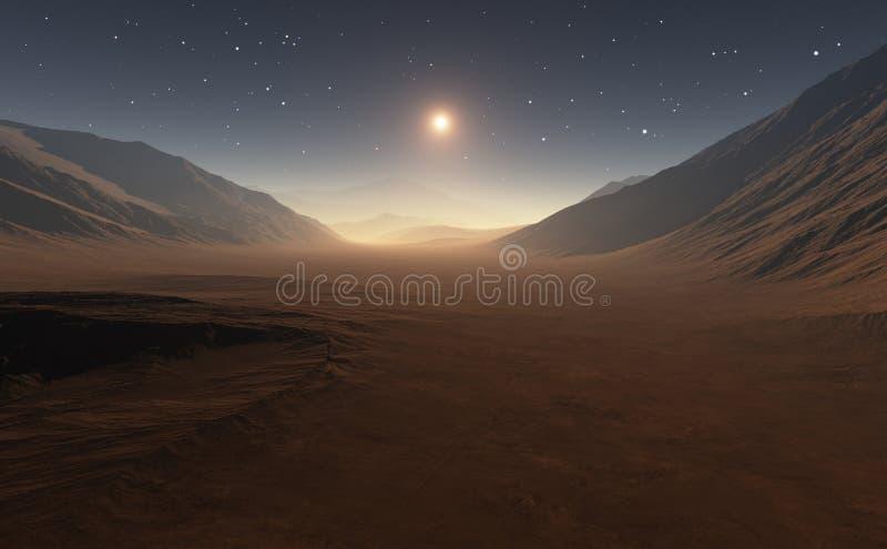 Ηλιοβασίλεμα στον Άρη ελεύθερη απεικόνιση δικαιώματος
