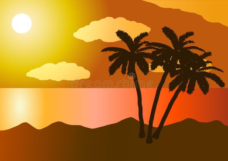 Ηλιοβασίλεμα στον ωκεανό, παραλία, φοίνικας διανυσματική απεικόνιση