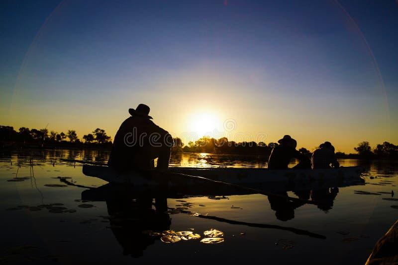 Ηλιοβασίλεμα στο δέλτα Okavango, Μποτσουάνα στοκ εικόνα