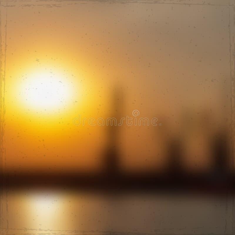 Ηλιοβασίλεμα στο θαλάσσιο λιμένα απεικόνιση αποθεμάτων