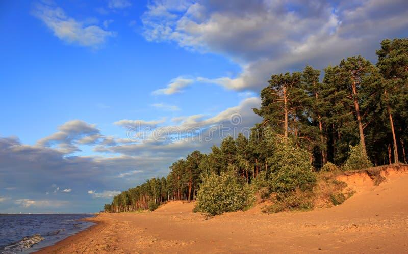 Ηλιοβασίλεμα στο Κόλπο της Φινλανδίας, περιοχή του Λένινγκραντ, της Ρωσίας στοκ εικόνα