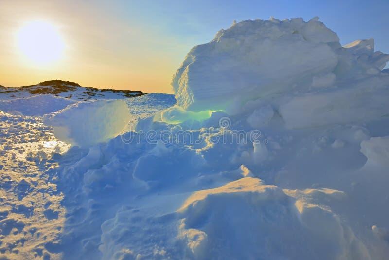 Ηλιοβασίλεμα της Γροιλανδίας ` s στοκ εικόνες