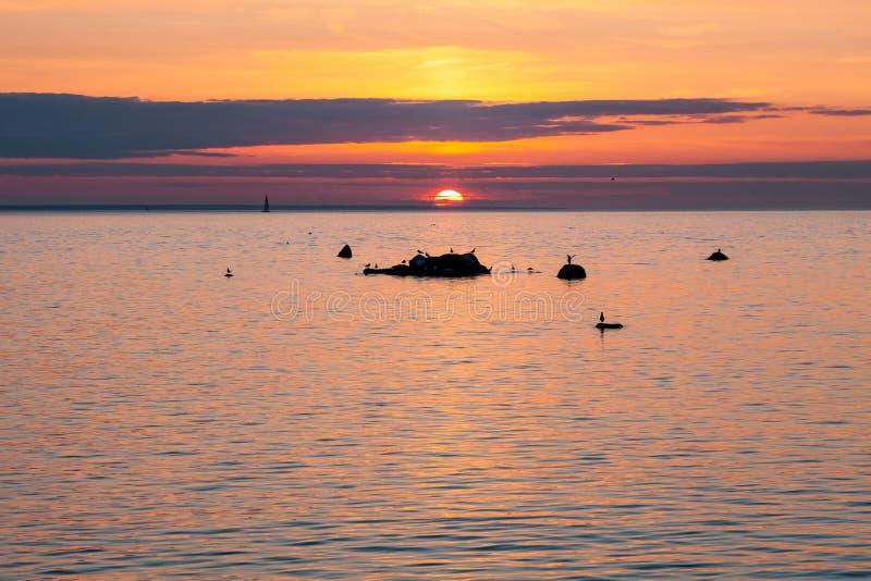 ηλιοβασίλεμα της θάλασ&si στοκ φωτογραφίες με δικαίωμα ελεύθερης χρήσης