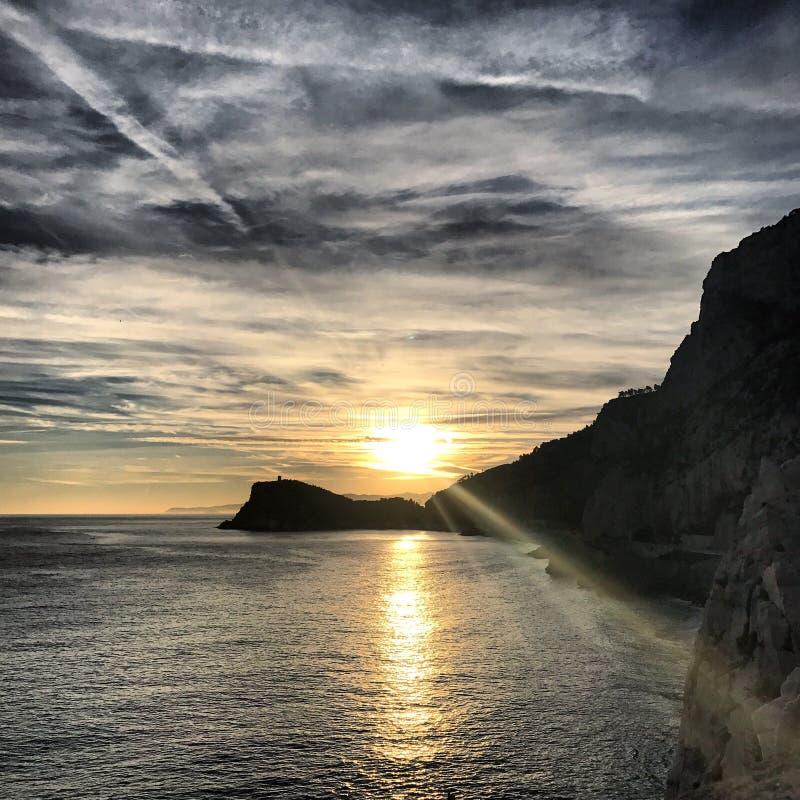Ηλιοβασίλεμα της Λιγυρίας στοκ εικόνες με δικαίωμα ελεύθερης χρήσης