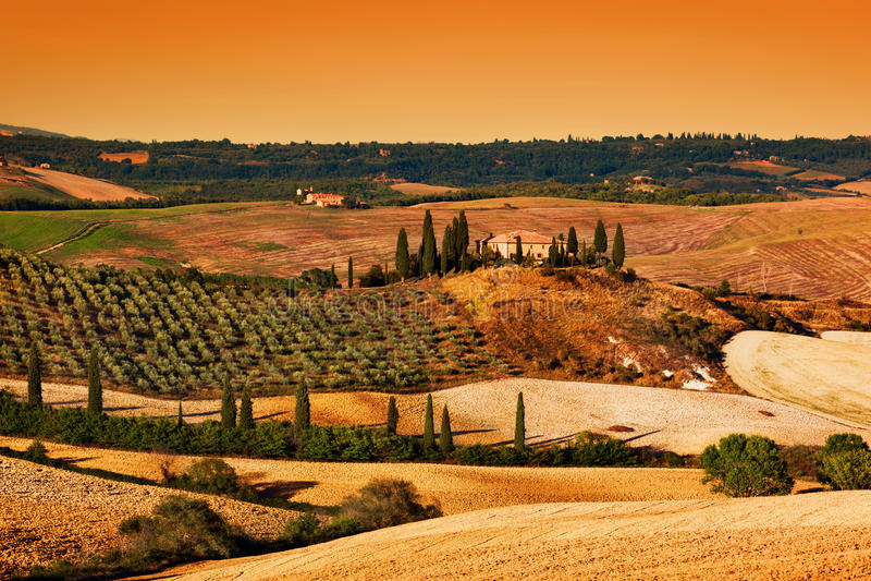 ηλιοβασίλεμα Τοσκάνη τ&omicron Tuscan αγροτικό σπίτι, αμπελώνας, λόφοι στοκ εικόνα