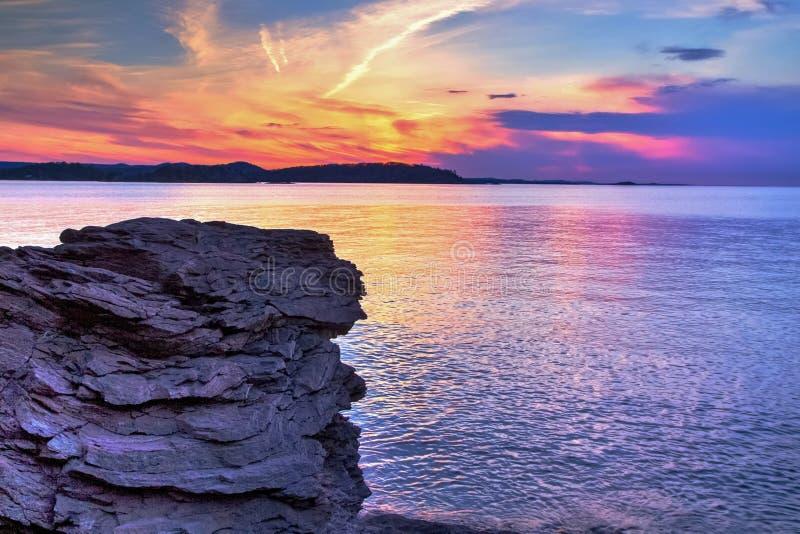 Ηλιοβασίλεμα του Μίτσιγκαν Marquette στοκ φωτογραφίες
