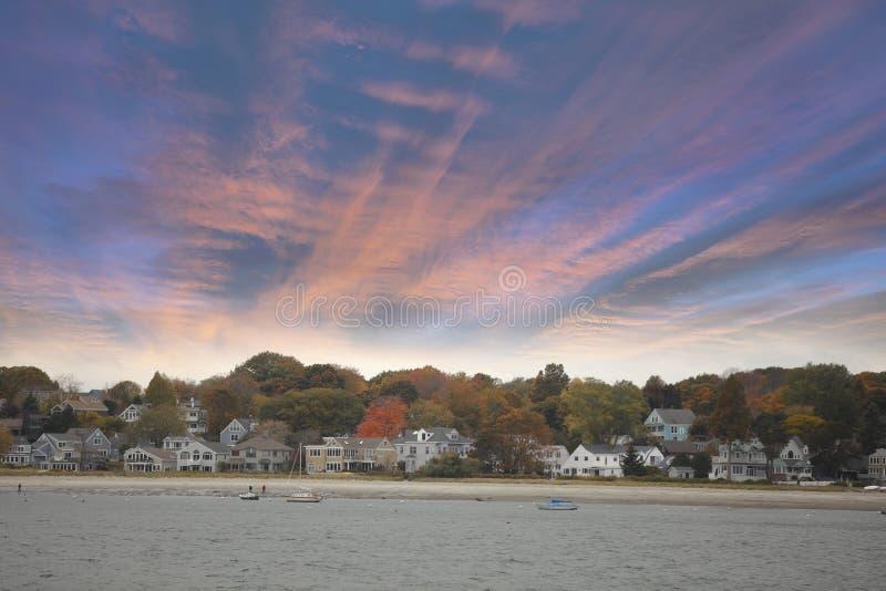 Ηλιοβασίλεμα του Πόρτλαντ Μαίην στοκ εικόνες