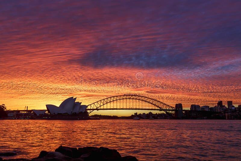 Ηλιοβασίλεμα του Σίδνεϊ του έτους στοκ φωτογραφία