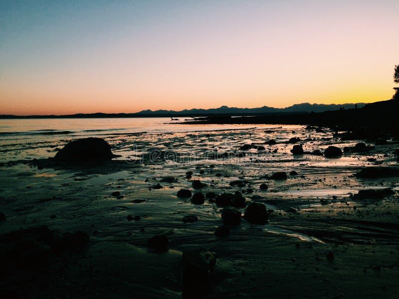 Ηλιοβασίλεμα του Σιάτλ στοκ φωτογραφία με δικαίωμα ελεύθερης χρήσης