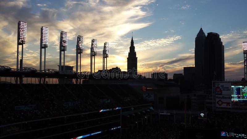Ηλιοβασίλεμα των Cleveland Indians στοκ φωτογραφίες με δικαίωμα ελεύθερης χρήσης