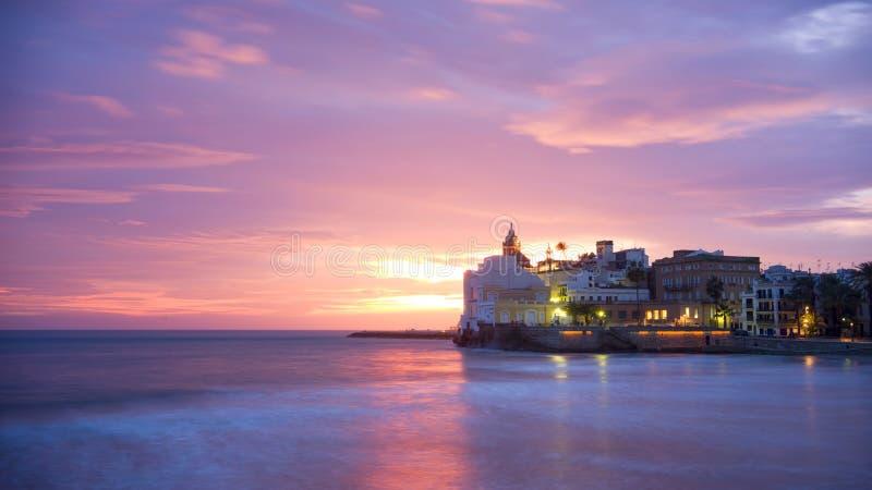 Ηλιοβασίλεμα των sitges στοκ εικόνα