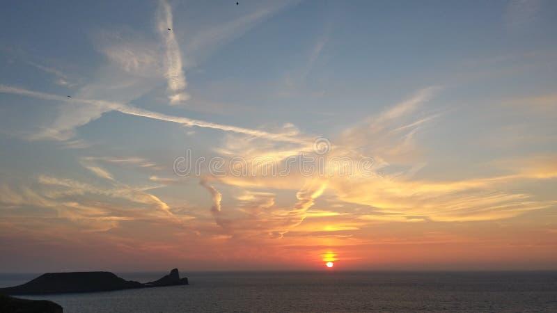 Ηλιοβασίλεμα Rhossili στοκ φωτογραφία
