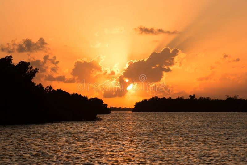 Ηλιοβασίλεμα Ria Lagartos στοκ εικόνες