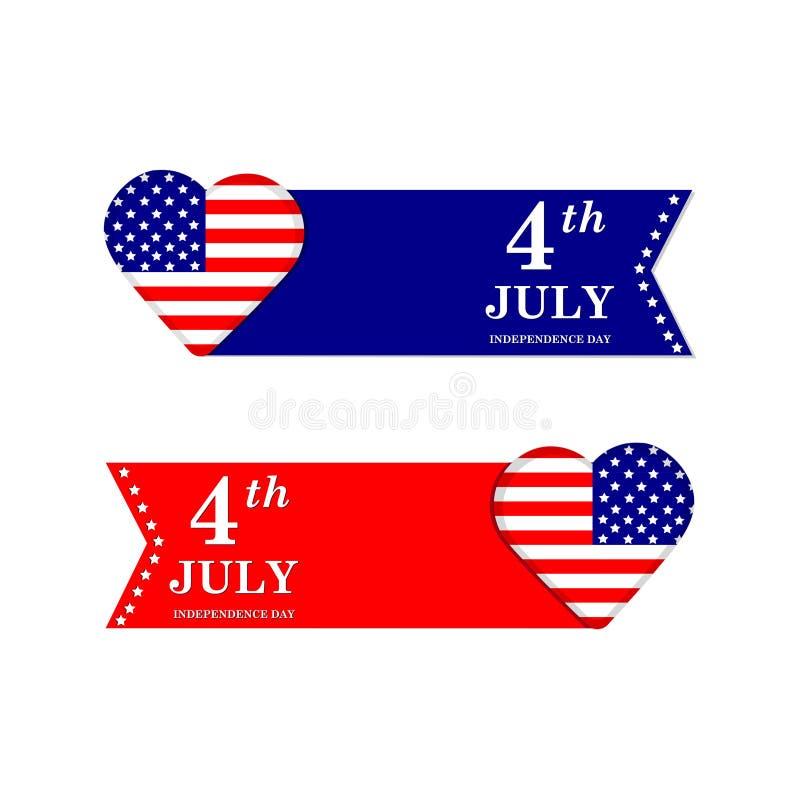 4η Ιουλίου ανεξαρτησία ημέρας ανασκόπησης grunge αναδρομική Σύμβολα των Ηνωμένων Πολιτειών της Αμερικής απεικόνιση αποθεμάτων