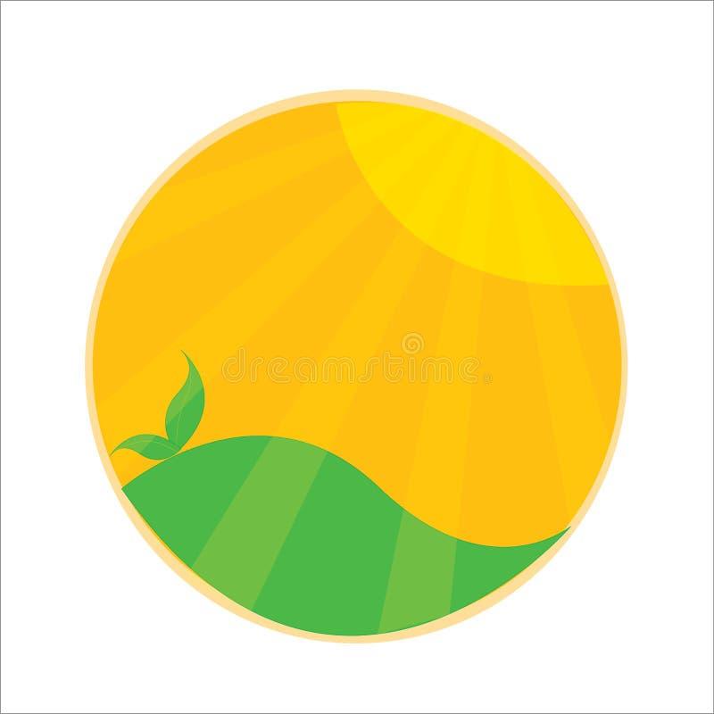 Ηλιοφάνεια, ήλιος, πράσινο διάνυσμα απεικόνιση αποθεμάτων