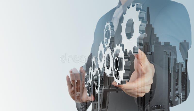 Η διπλή έκθεση του χεριού επιχειρηματιών σύρει το εργαλείο διανυσματική απεικόνιση