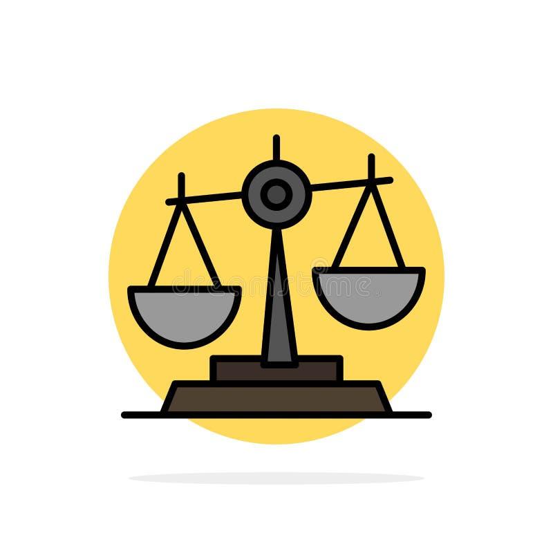 Η ισορροπία, δικαστήριο, δικαστής, δικαιοσύνη, νόμος, νομικός, κλίμακα, κλίμακες αφαιρεί το επίπεδο εικονίδιο χρώματος υποβάθρου  διανυσματική απεικόνιση