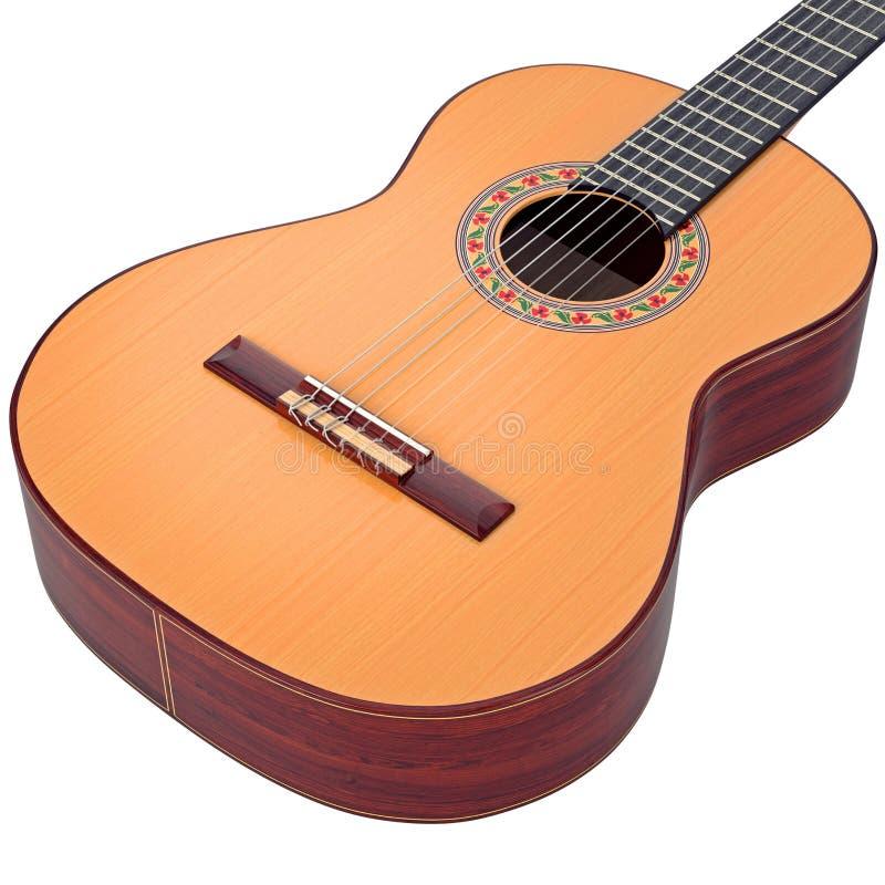 Η ισπανική ακουστική κιθάρα σώματος, μεγέθυνε άποψη ελεύθερη απεικόνιση δικαιώματος