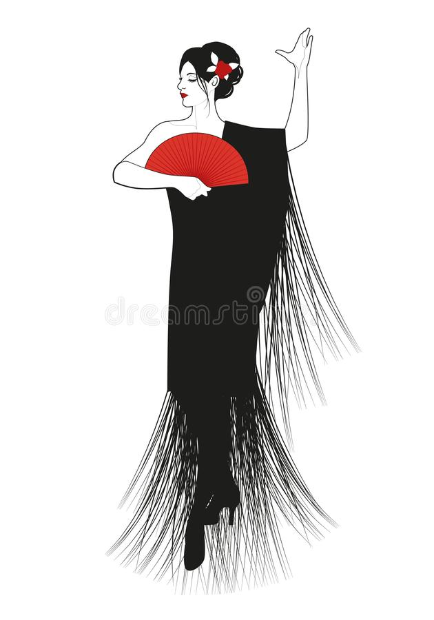 Η ισπανική γυναίκα έντυσε στο πλαισιωμένο σάλι, που φορά τον ανεμιστήρα και το λουλούδι στην τρίχα της, flamenco χορού απεικόνιση αποθεμάτων