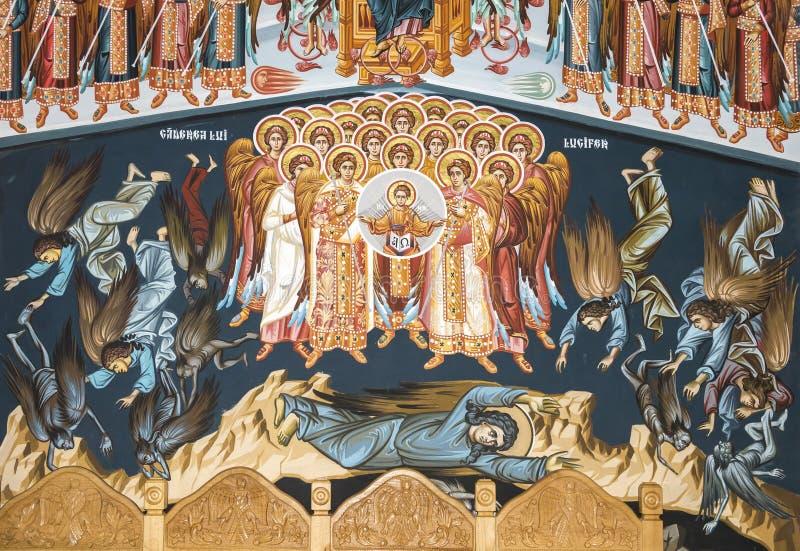 Η ιστορία της πτώσης Lucifer's και των βοηθών του από τον παράδεισο INT στοκ εικόνα με δικαίωμα ελεύθερης χρήσης