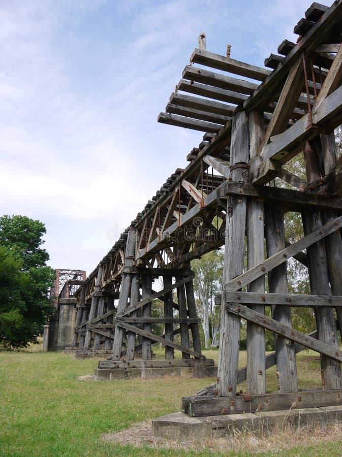 Η ιστορική γέφυρα σιδηροδρόμων σε Gundagai στοκ εικόνα με δικαίωμα ελεύθερης χρήσης