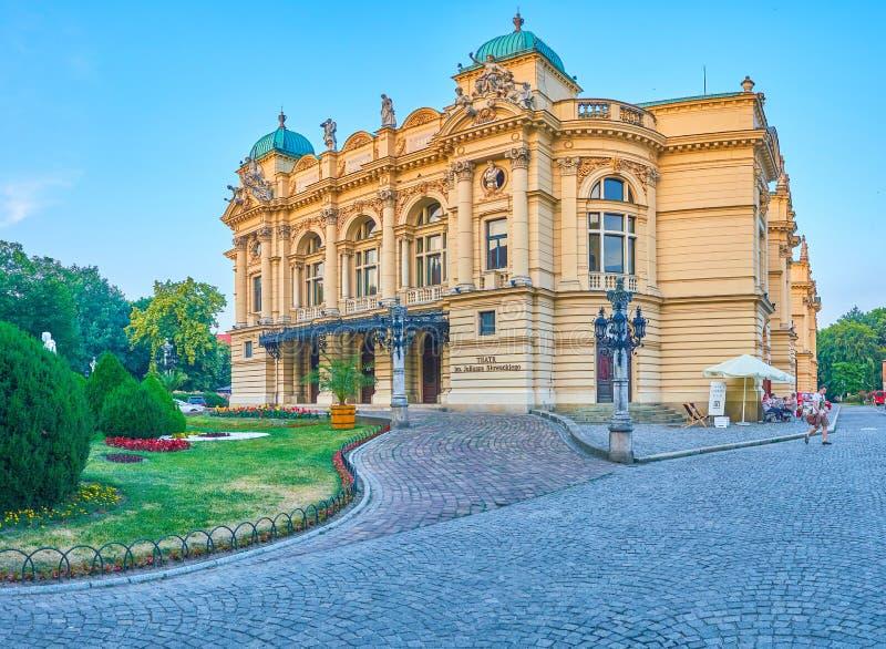 Η ιστορική οικοδόμηση του θεάτρου Slowacki στην Κρακοβία, Πολωνία στοκ εικόνες