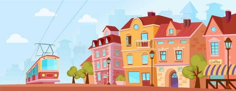 Ηλιόλουστη ιστορική οδός πόλεων Παλαιό έμβλημα πόλεων με το τραμ η αλλοδαπή γάτα κινούμενων σχεδίων δραπετεύει το διάνυσμα στεγών ελεύθερη απεικόνιση δικαιώματος