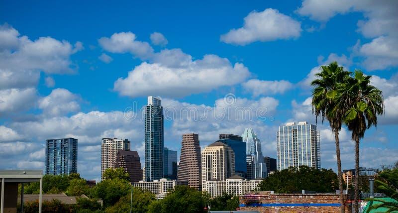 Ηλιόλουστος μπλε ουρανός ημέρας οριζόντων του Ώστιν Τέξας παραδείσου με δύο τροπικούς φοίνικες πιό κοντά στοκ εικόνες με δικαίωμα ελεύθερης χρήσης