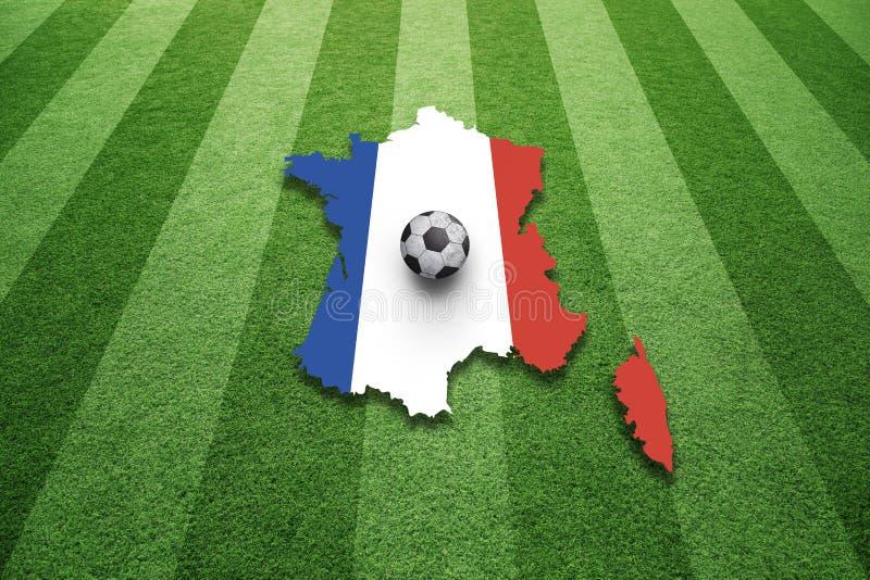 Ηλιόλουστο γήπεδο ποδοσφαίρου της Γαλλίας με το υπόβαθρο σφαιρών στοκ εικόνες