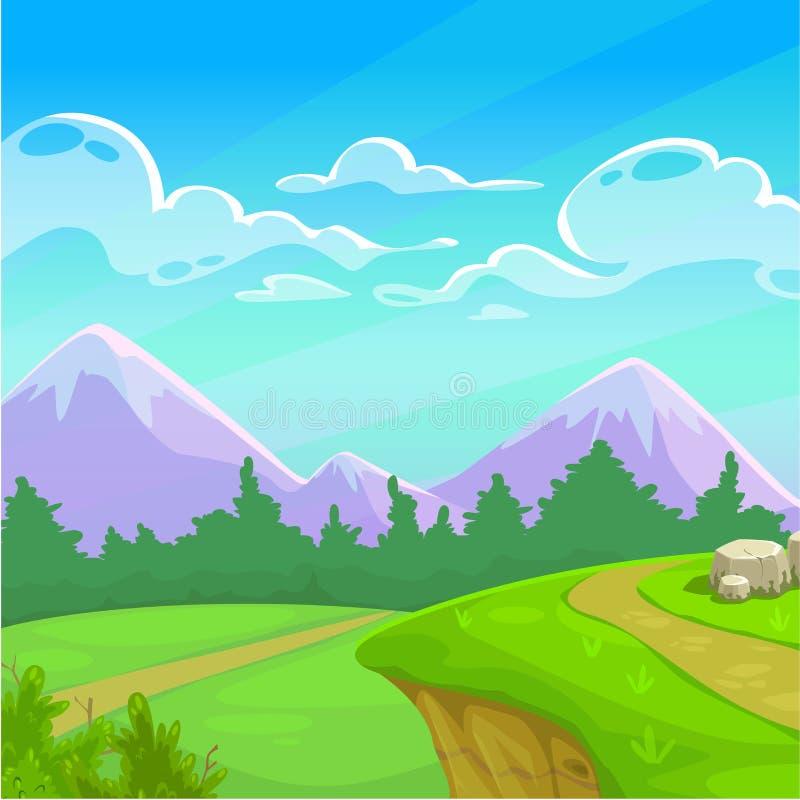 Ηλιόλουστο τοπίο ημέρας κινούμενων σχεδίων διανυσματική απεικόνιση