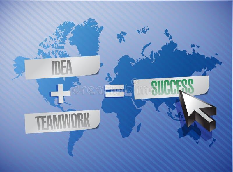 Η ιδέα συν την ομαδική εργασία είναι ίση με την έννοια επιτυχίας απεικόνιση αποθεμάτων