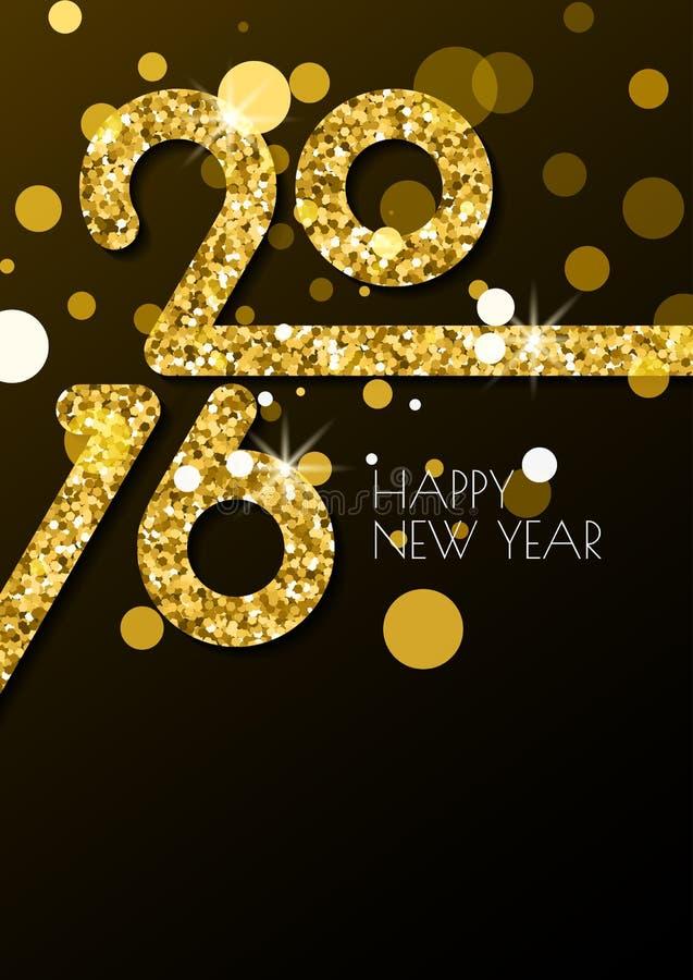 Η κάθετη ευχετήρια κάρτα καλής χρονιάς το 2016 με χρυσό ακτινοβολεί τ διανυσματική απεικόνιση