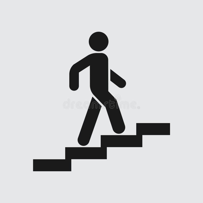 Η κάθοδος εικονιδίων επάνω τα σκαλοπάτια, καθοδηγεί διανυσματική απεικόνιση