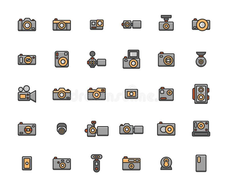 Η κάμερα γέμισε το σύνολο εικονιδίων περιλήψεων ελεύθερη απεικόνιση δικαιώματος