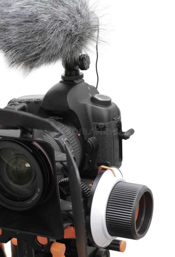 Η κάμερα φωτογραφιών με το μικρόφωνο και ακολουθεί την εστίαση στοκ φωτογραφία με δικαίωμα ελεύθερης χρήσης